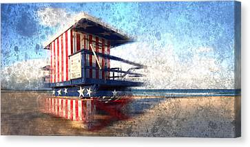 Modern-art Miami Beach Watchtower Canvas Print by Melanie Viola