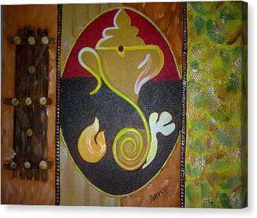 Mixed Media Ganesha Canvas Print by Poornima Ravi