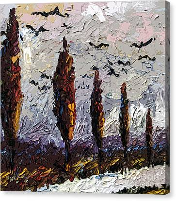 Modern Italian Landscape Trees Paintings Triptych Abstract Mixed Media Art Canvas Print by Ginette Callaway