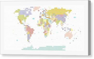 Modern World Map Canvas Print by Celestial Images