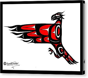 Mohawk Eagle Red Canvas Print by Speakthunder Berry