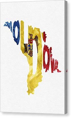 Moldova Typographic Map Flag Canvas Print by Ayse Deniz