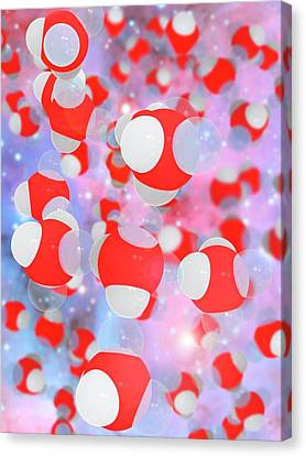 Molecular Structure Of Water Canvas Print by Ramon Andrade 3dciencia