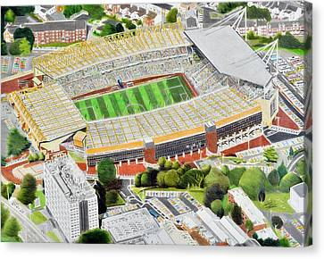 Molineux Stadia Art - Wolverhampton Wanderers Fc Canvas Print by Brian Casey