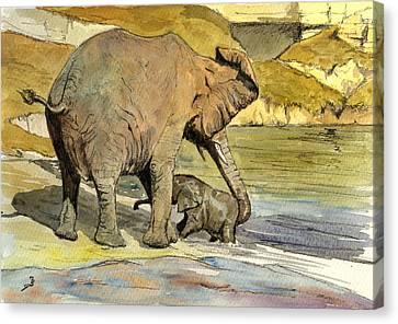 Mom And Cub Elephants Having A Bath Canvas Print by Juan  Bosco