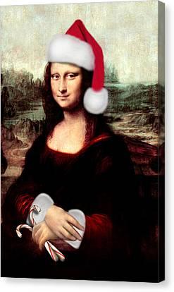 Mona Lisa With Santa Hat Canvas Print by Gravityx9  Designs