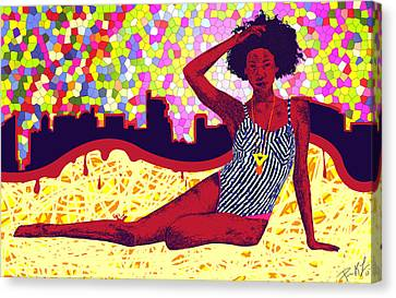 Mona Sur La Plage Urbaine Canvas Print by Pierre Louis