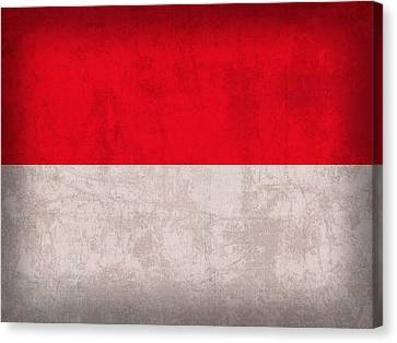 Monaco Flag Vintage Distressed Finish Canvas Print by Design Turnpike