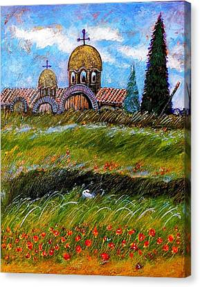 Monastery In Greece Canvas Print by Ion vincent DAnu