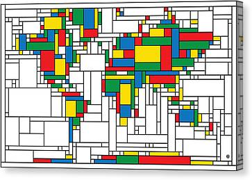 Mondrian World Map Canvas Print by Gary Grayson