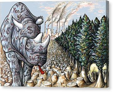Money Against Nature - Cartoon Canvas Print by Art America Online Gallery