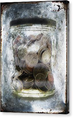 Money Frozen In A Jar Canvas Print by Skip Nall