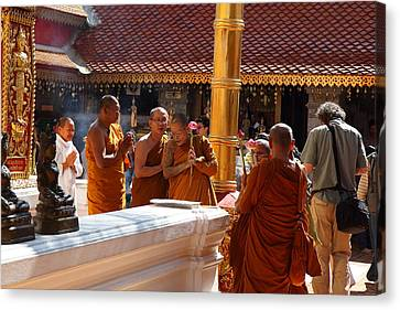 Monk Ceremony - Wat Phrathat Doi Suthep - Chiang Mai Thailand - 01131 Canvas Print by DC Photographer