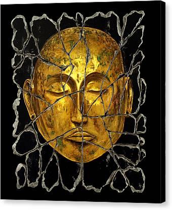 Monk In Meditation Canvas Print by Steve Bogdanoff
