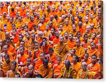 Monk Mass Alms Giving Canvas Print by Fototrav Print