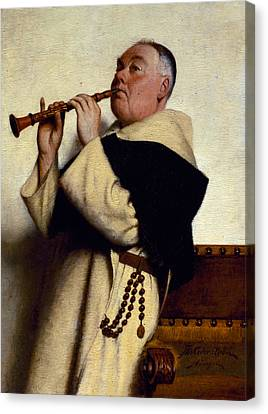 Monk Playing A Clarinet Canvas Print by Ture Nikolaus Cederstrom