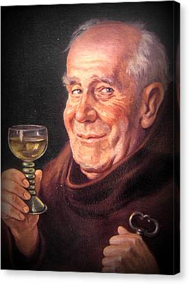 Monk With Wineglass And Key Canvas Print by The Creative Minds Art and Photography