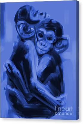 Monkey Love T17 Canvas Print by Go Van Kampen