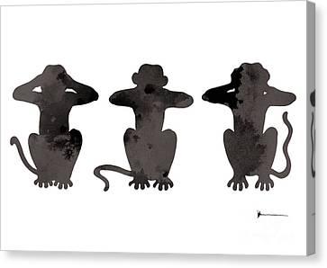 Monkey Painting Watercolor Art Print Canvas Print by Joanna Szmerdt