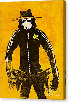 Monkey Sheriff Canvas Print by Pixel Chimp
