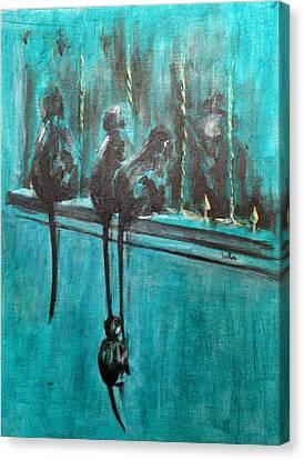 Monkey Swing Canvas Print by Usha Shantharam