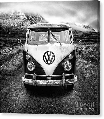 Mono Vw Camper Scotland  Canvas Print by John Farnan