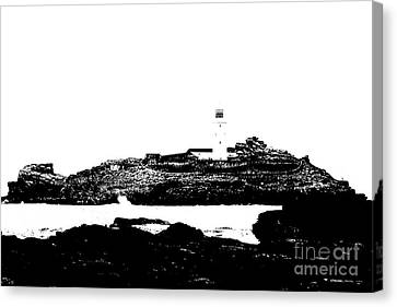 Monochromatic Godrevy Island And Lighthouse Canvas Print by Terri Waters