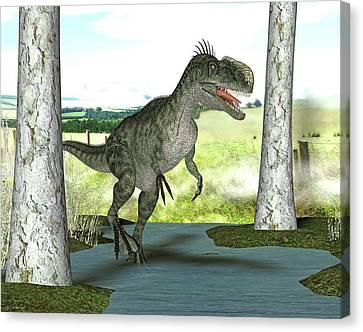 Monolophosaurus Dinosaur Canvas Print by Friedrich Saurer