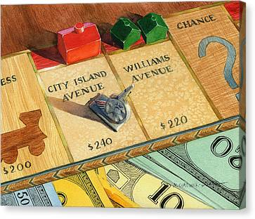 Monopoly On City Island Avenue Canvas Print by Marguerite Chadwick-Juner
