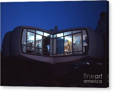 Monsanto House Of The Future At Disneyland At Night 1961 Canvas Print by The Phillip Harrington Collection