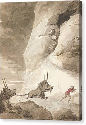 Monsters Chasing A Man Canvas Print by George Dance