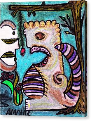 Monsters Love Life Too Canvas Print by Lois Picasso