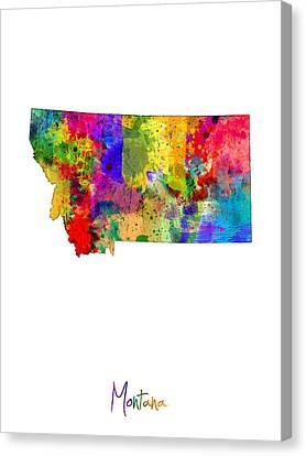 Montana Map Canvas Print by Michael Tompsett