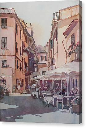 Monterosso Cafe Canvas Print by Jenny Armitage