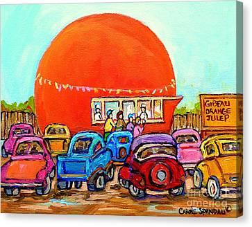 Montreal Art Orange Julep Paintings Montreal Summer City Scenes Carole Spandau Canvas Print by Carole Spandau
