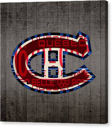 Montreal Canadiens Hockey Team Retro Logo Vintage Recycled Quebec Canada License Plate Art Canvas Print by Design Turnpike