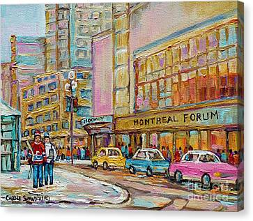 Montreal Forum Canadiens Hockey Landmark Vintage Scene Carole Spandau Canvas Print by Carole Spandau