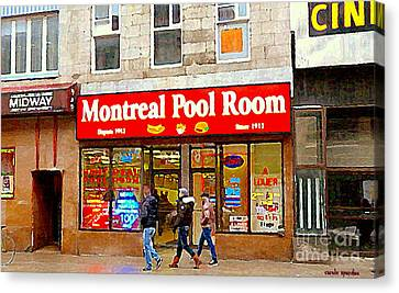 Montreal Pool Room Cheap Hotdogs St Laurent Greasy Spoon Montreal Tradition C Spandau Diners Dives   Canvas Print by Carole Spandau