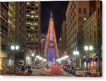 Monument Circle Christmas Tree Canvas Print by Twenty Two North Photography