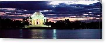 Monument Lit Up At Dusk, Jefferson Canvas Print by Panoramic Images