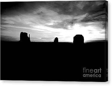 Monument Valley Desert Sunrise And Butte Silhouettes Black And White Conte Crayon Digital Art Canvas Print by Shawn O'Brien