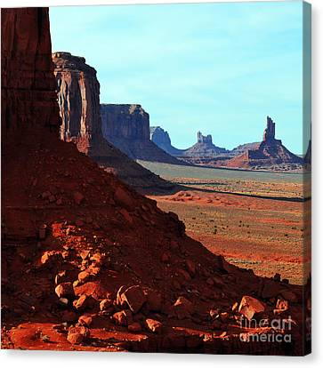 Monument Valley Red Sandstone Buttes In Profile Square Format Canvas Print by Shawn O'Brien