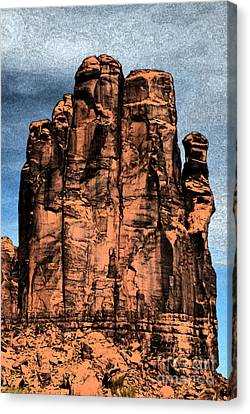 Monument Valley Red Sandstone Formation The Hand Fresco Digital Art Canvas Print by Shawn O'Brien