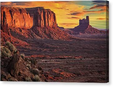 Monument Valley Sunrise Canvas Print by Priscilla Burgers