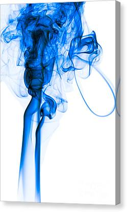 Mood Colored Abstract Vertical Deep Blue Smoke Art 01 Canvas Print by Alexandra K