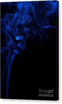 Abstract Vertical Paris Blue Mood Colored Smoke Art 01 Canvas Print by Alexandra K
