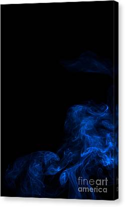 Abstract Vertical Paris Blue Mood Colored Smoke Art 02 Canvas Print by Alexandra K