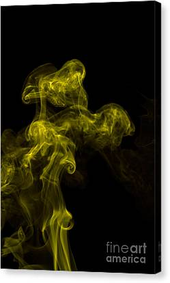 Abstract Vertical Yellow Mood Colored Smoke Wall Art 02 Canvas Print by Alexandra K