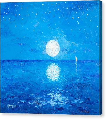Moon And Stars Canvas Print by Jan Matson