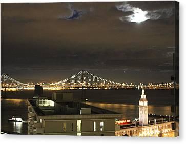 Moon Burst Over San Francisco Oakland Bay Bridge Canvas Print by Ron McMath